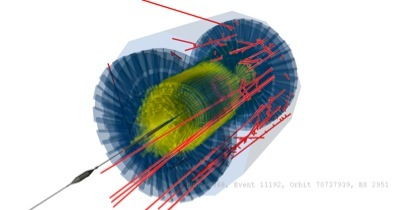 a CMS event from a the LHC startup. A proton has collided with a strip of metal inserted into the beam.