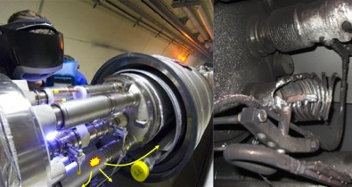 Pictured left is the assembly of a dipole magnet junction at the LHC. To the right is what is left of a connector after a 1000 amp arc from a short circuit.